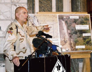 General Odierno shows where Saddam Hussein was found.